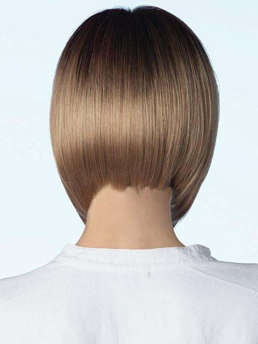A tapered neckline at the nape