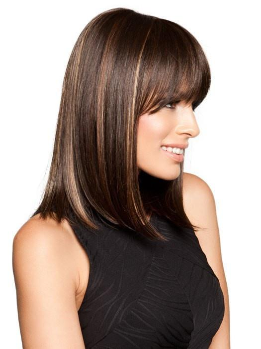 A mid length fashion-forward straight look with a center part