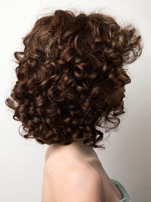 Tight ringlet curls give luscious volume to this shoulder length style | Color: Razberry Ice