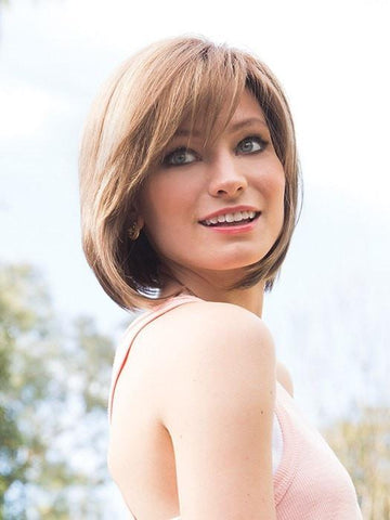 An angled bob with side swept fringe creates a simply beautiful look | Color: Mochaccino R