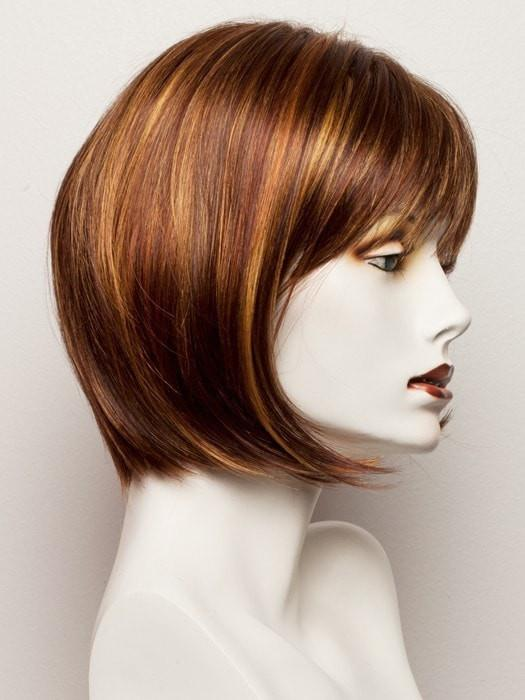 TOMATO-BISQUE | Dark Auburn Base with Golden Auburn chunky highlights