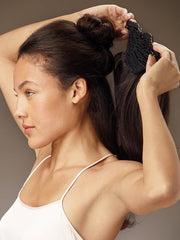 Section your hair from side to side and pin it up