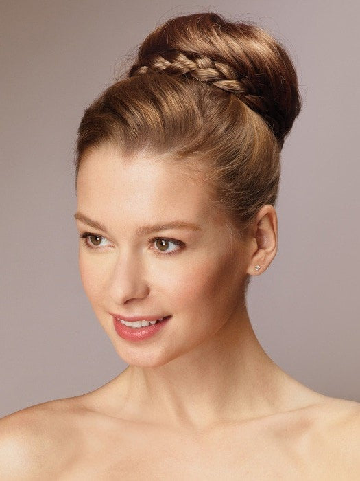 Style your hair in a low or high bun  | Color: Frosted