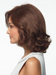 Shoulder length human hair can be styled straight or curled | Color: Brown Spice