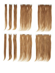 Set includes 8 clip-in extensions, plus 2 extra pieces for testing perm and color
