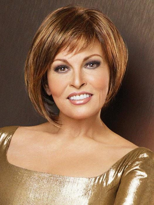 BEWITCHED by Raquel Welch in R3329S+ Glazed Auburn Rich Dark Reddish Brown with  Pale Peach Blonde highlights