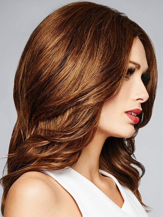 BRAVO by Raquel Welch in R829S+ GLAZED HAZLENUT | Rich Medium Brown with Ginger Highlights on Top