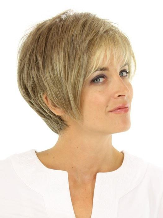 A sassy, asymmetrical short wig ready to wear with a firm shake right out of the box