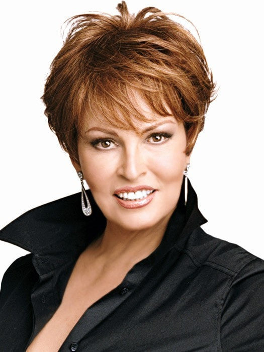 Raquel Welch EXCITE Wig in R3025S+ Glazed Cinnamon |  A medium reddish brown with ginger highlights on top