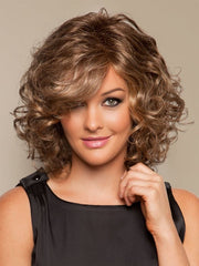 Glam Slam Wig by Raquel Welch: Color R9F26 Mocha Foil (Warm, Medium Brown with Gold highlights around the face)