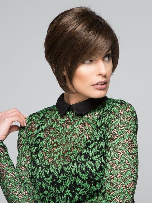 Wear the bangs to the side, or have them trimmed by your stylist | Color: SS4/6 Rich Dark Brown with even Darker Roots