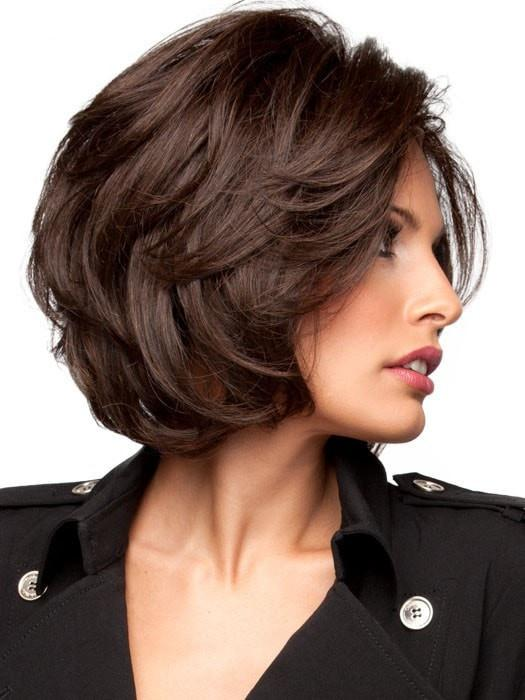 Beautiful long bob style with soft side swept bangs (This piece has been styled for this look)
