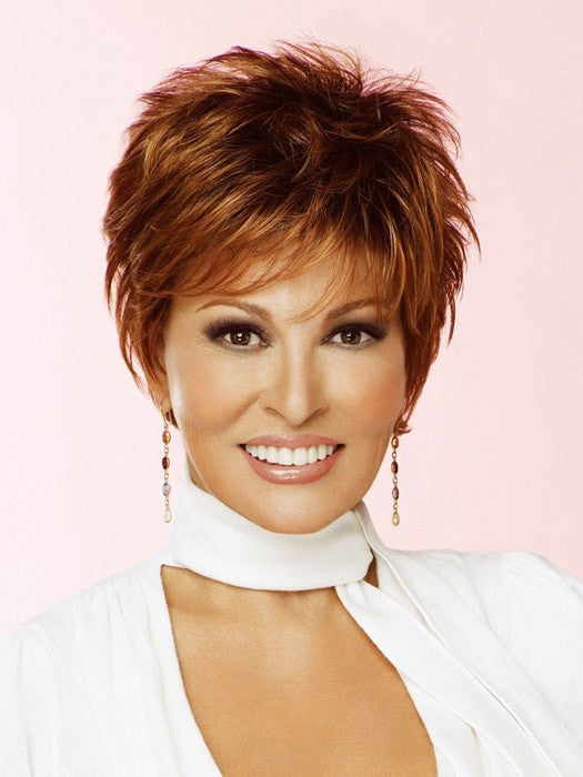 Sharp by Raquel Welch: Color SS28 Glazed Fire (Fiery Red with Bright Red highlights on top, Dark Brown roots)