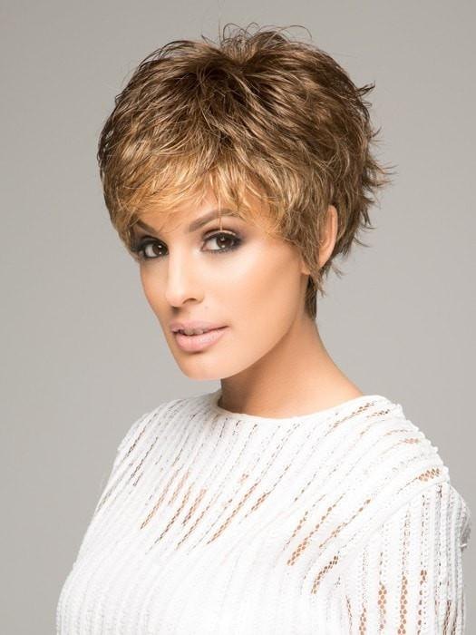 SPARKLE WIG Raquel Welch in R9F26 MOCHA FOIL | Warm Medium Brown with Medium Golden Blonde Highlights Around the Face