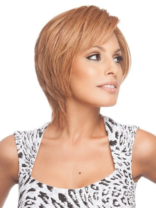 Human Hair can be styled straight or curled | Color: R3025S+ (This piece has been styled for this look)