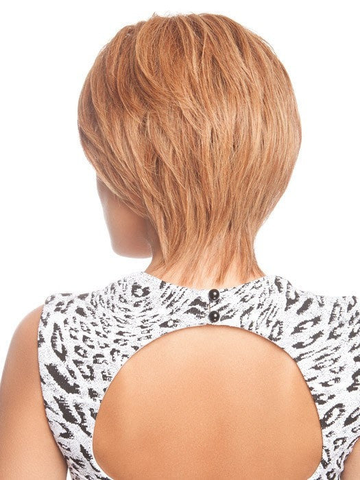 Layers go from short to long, creating a shag cut | Color: R3025S+ (This piece has been styled for this look)