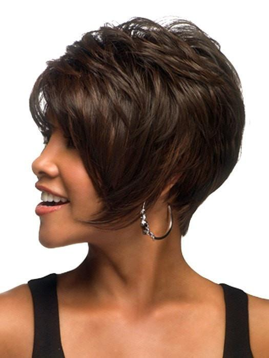 Adorable short pixie bob with angle pointed sides featuring heat friendly synthetic fiber.