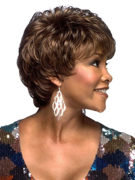 short wavy shag with a short back and nape featuring a pure stretch cap construction