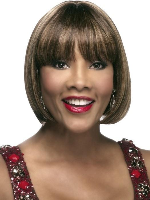 H-280 Wig by Vivica Fox in P4/27/30 | Piano Color. Medium Dark Brown, Honey Blonde, and Copper Blonde