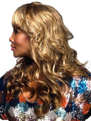 Braxton is a long wig, luscious, and loose body wave styled with a side swept bang.