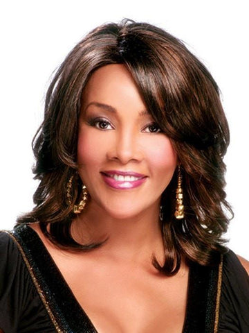 Autumn Wig by Vivica Fox in FS4/27 | 80% Medium Dark Brown with 20% Honey Blonde Frost