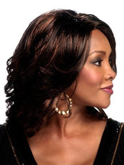 A glamorous shoulder length layered cut with a side skin part featuring a pure stretch cap construction