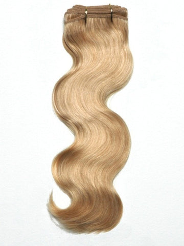 "Virgin Body Hair Weft (Indian & Chinese Mix). Machine stitched weft of gorgeous, hi-quality virgin body optimum cuticle remy human hair with an Overall length of 18""."