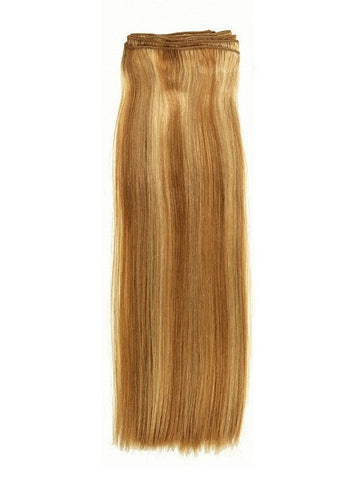 "Silky Straight Extension Weft. Machine stitched weft of gorgeous, hi-quality silky straight human hair with an Overall length of 14""."