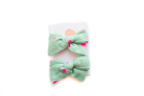 Mint with Neon Pink Dot Pigtail Set