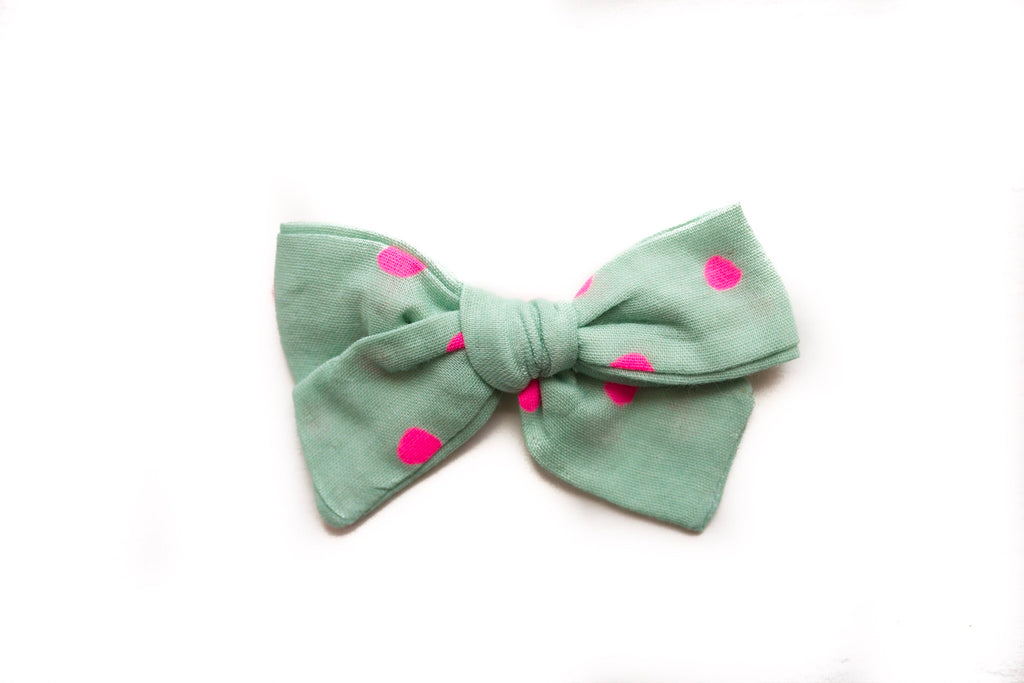 Mint with Neon Dot Double Gauze