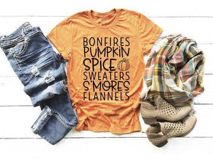 Bonfires, Pumpkin Spice, Sweaters, S'Mores, Flannels Tee