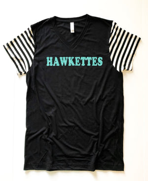 Hawkettes Striped Sleeved - Adults Tee