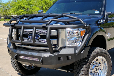 Road Armor Stealth 61743B-NW 2017-2018 Ford F450/F550 Superduty Front Non-Winch Bumper Intimidator, Black Finish and Square Fog Light Hole