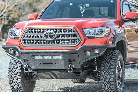 Body Armor TC-19337 Toyota Tacoma 2016-2018 Desert Series Front Bumper Winch Ready