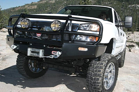 ARB 3462020 Chevy Silverado 1500 2003-2006 Deluxe Front Bumper Winch Ready with Grille Guard, Black Powder Coat Finish