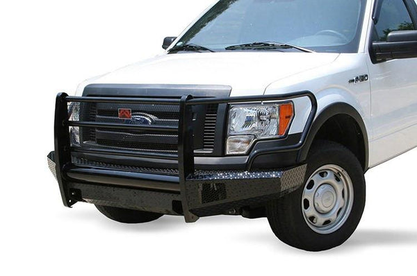 Fab Fours FF09-K1960-1 Ford F150 2009-2014 Black Steel Front Bumper Full Guard with Tow Hooks