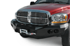 Road Armor 44070Z 2006-2008 Dodge Ram 1500 Stealth Front Winch Ready Bumper No Guard, Raw Finish and Round Fog Light Hole