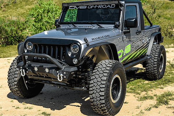 DV8 Offroad Jeep Wrangler JL 2018-2020 Front Bumper Stubby with Led Lights Winch Ready FBSHTB-11