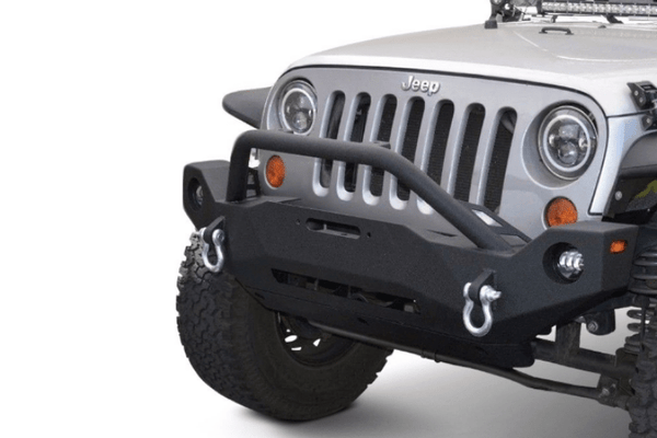 DV8 Offroad Jeep Wrangler JK 2007-2018 Hammer Forged Front Bumper Mid-Length with Fog Light Holes Winch Ready FBSHTB-19