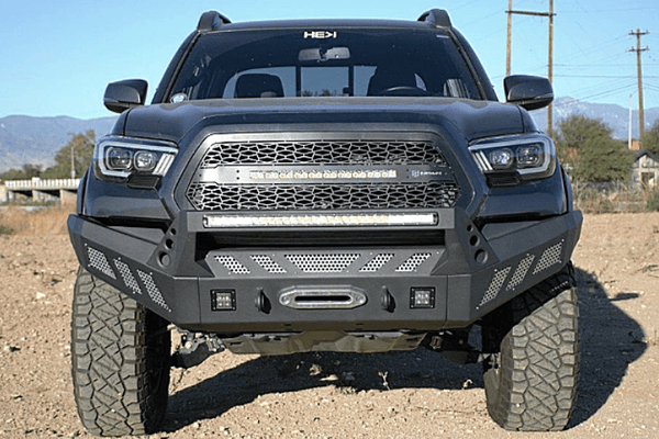 DV8 Offroad Toyota Tacoma 2016-2020 Front Bumper With Light Bar Winch Ready FBTT1-03
