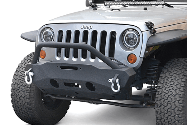 DV8 Offroad Jeep Gladiator JT 2020 Hammer Forged Front Bumper Stubby with Fog Light Holes Winch Ready FBSHTB-16