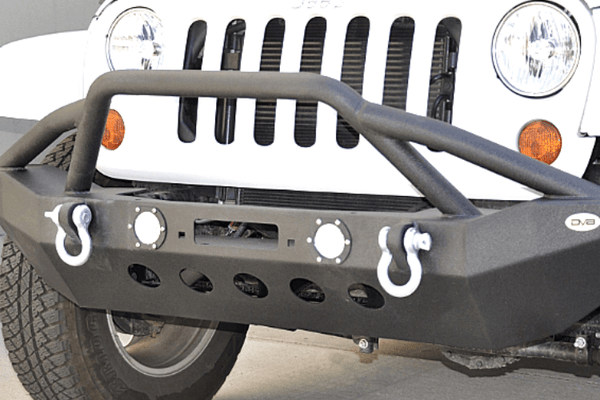 DV8 Offroad Jeep Wrangler JK 2007-2018 Front Bumper Mid-Width with Pre-Runner Guard Winch Ready FBSHTB-08