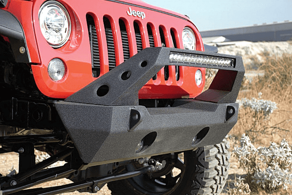 DV8 Offroad Jeep Wrangler JL 2018-2019 Front Bumper Stubby with Light Bar Mount Winch Ready FBSHTB-25