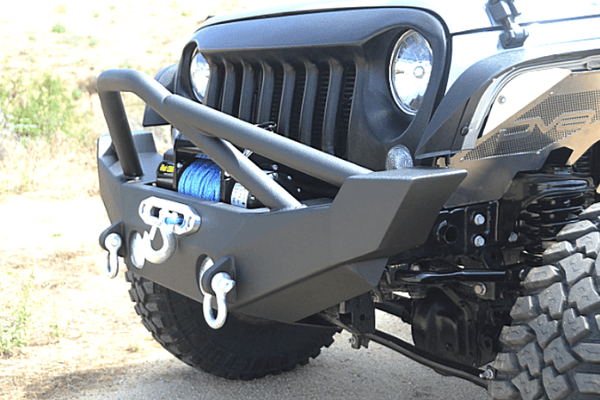 DV8 Offroad Jeep Wrangler JK 2007-2018 Hammer Forged Front Bumper Pre-Runner Guard Winch Ready FBSHTB-12