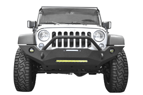 DV8 Offroad Jeep Wrangler JK 2007-2018 Hammer Forged Front Bumper Full-Length with Fog Light Holes Winch Ready FBSHTB-18