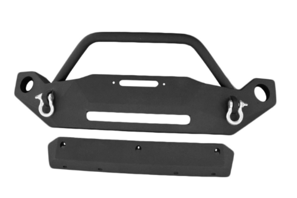 DV8 Offroad Jeep Gladiator JT 2020 Hammer Forged Front Bumper Mid-Length with Fog Light Holes Winch Ready FBSHTB-19