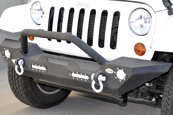 DV8 Offroad Jeep Wrangler JK 2007-2018 Front Bumper Mid-Width with Bullbar Winch Ready FBSHTB-07