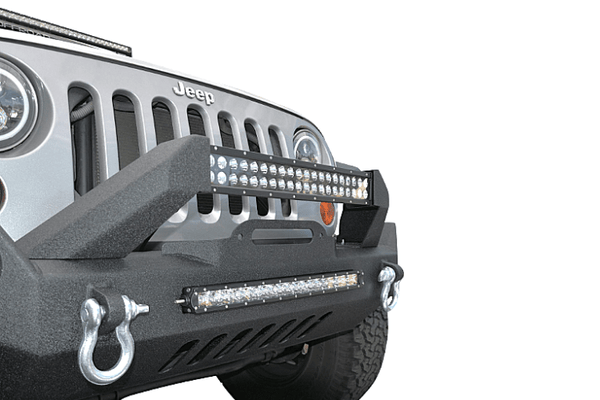 DV8 Offroad Jeep Wrangler JK 2007-2018 Hammer Forged Front Bumper Mid-Length with Fog Light Holes Winch Ready FBSHTB-17