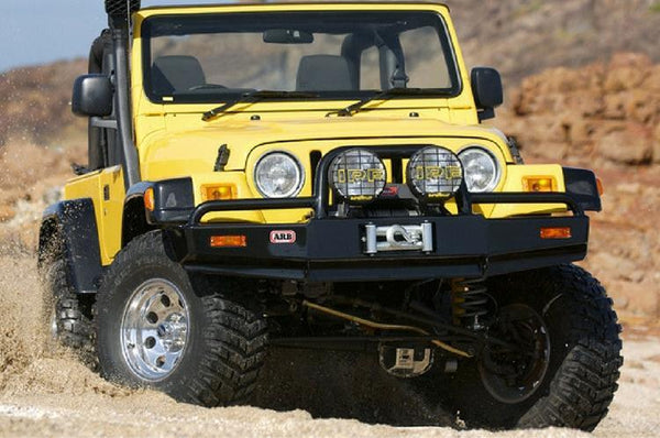 ARB 3450070 Jeep Wrangler YJ & TJ 1997-2006 Deluxe Front Bumper Winch Ready with Grille Guard, Black Powder Coat Finish