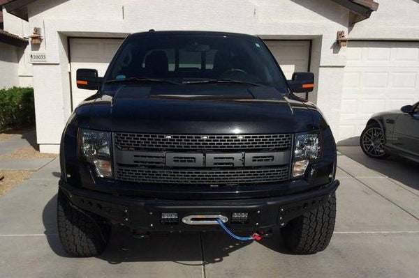 ADD F012013010103 Ford F-150 Raptor 2010 - 2014 Venom Front Bumper W/ Winch Mount and 4'' Fog Light Mount Hammer Black with Side Panels - BumperOnly